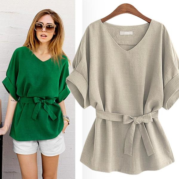 Summer Blouse with one-cut sleeves sizes 42-50