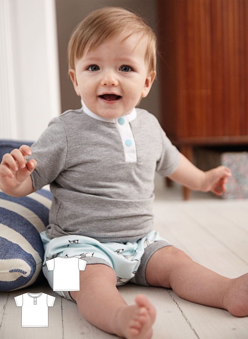 T-shirt Sewing Pattern For Babies (Sizes 62-80)