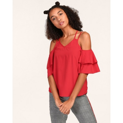 Double Bell Sleeve Cold Shoulder Top (Sizes XS-XL)