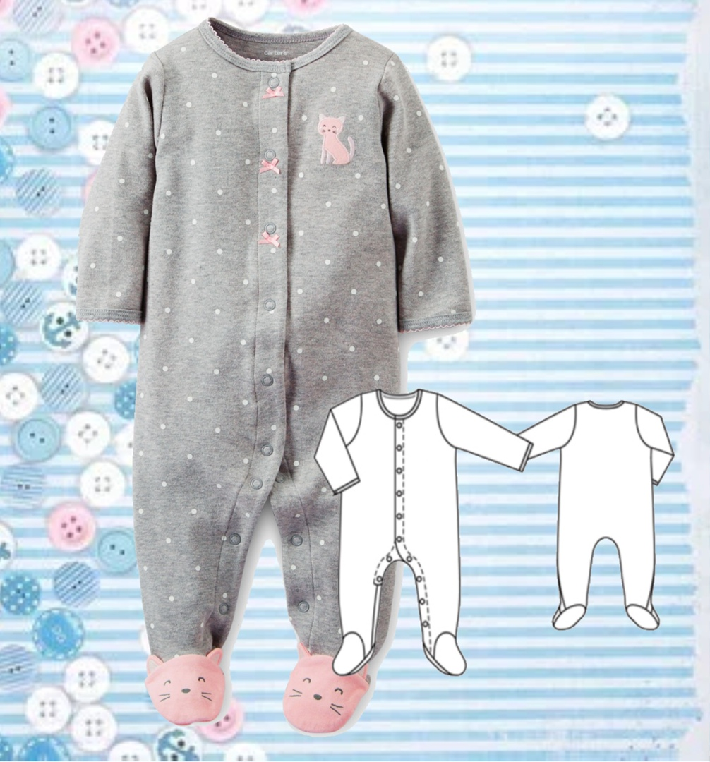 Onesie Sewing Pattern For Babies (Height 68-92)