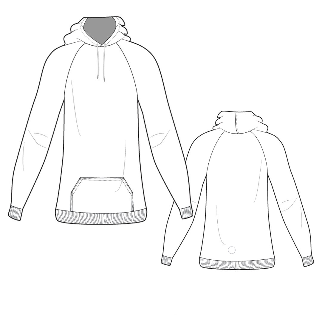 Sweatshirt With Raglan Sleeves And Patch Pocket (Sizes 38-50 Eur)