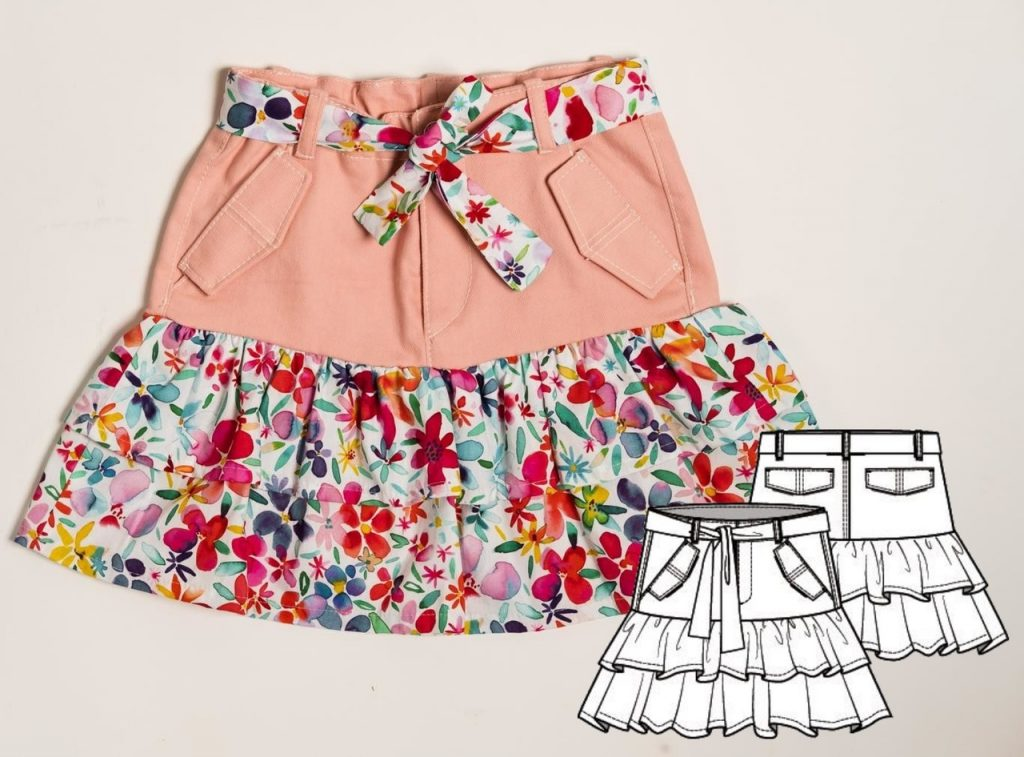 Skirt Sewing Pattern For Girls (Size Growth 104-134)