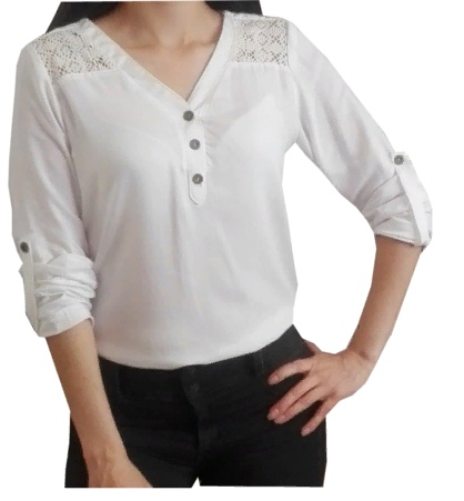 V-Neckline Blouse/Shirt Sewing Pattern For Women (Sizes XS-XL)