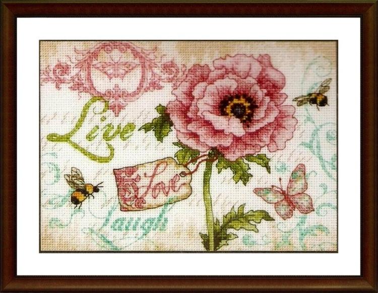 Live Love Laugh - Cross Stitch Embroidery Scheme