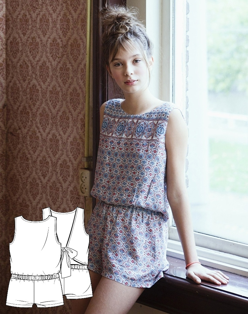 Playsuit / Jumpsuit Sewing Pattern For Teenage Girls (Sizes For Height 134-176cm)