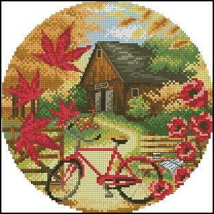 Autumn Landscape - Cross Stitch Embroidery Scheme