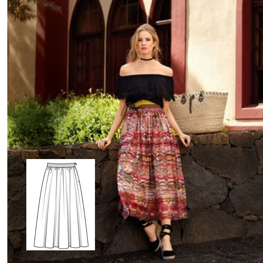 Gathered Skirt Sewing Pattern For Women (Sizes 36-44 Eur)