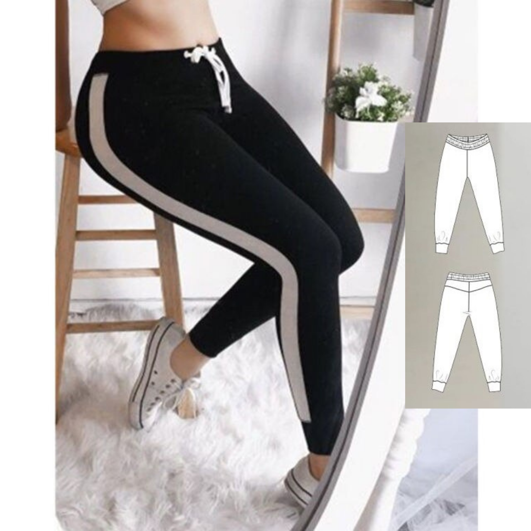 Sewing Pattern For Women Knitted Track Pants (Sizes 34-56 Eur)