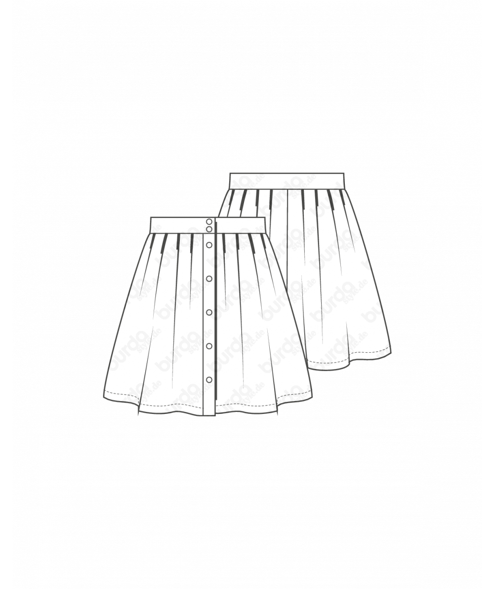 Repellent Skirt Sewing Pattern For Girls (Sizes 98-134)
