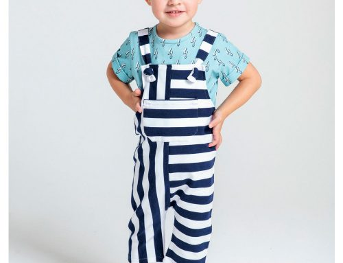 French Terry Dungaree Sewing Pattern For Boys (Sizes 80-104)