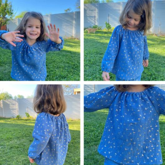 Long Sleeve Peasant Top For Little Girls