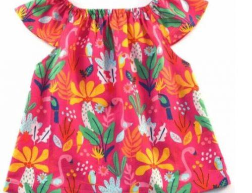 Flutter Sleeve Peasant Top For Little Girls
